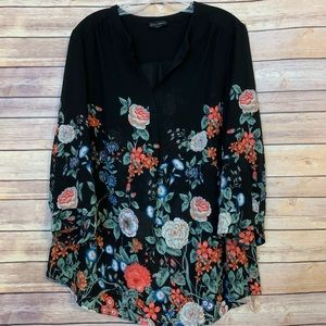 Semi sheer black floral long sleeve blouse